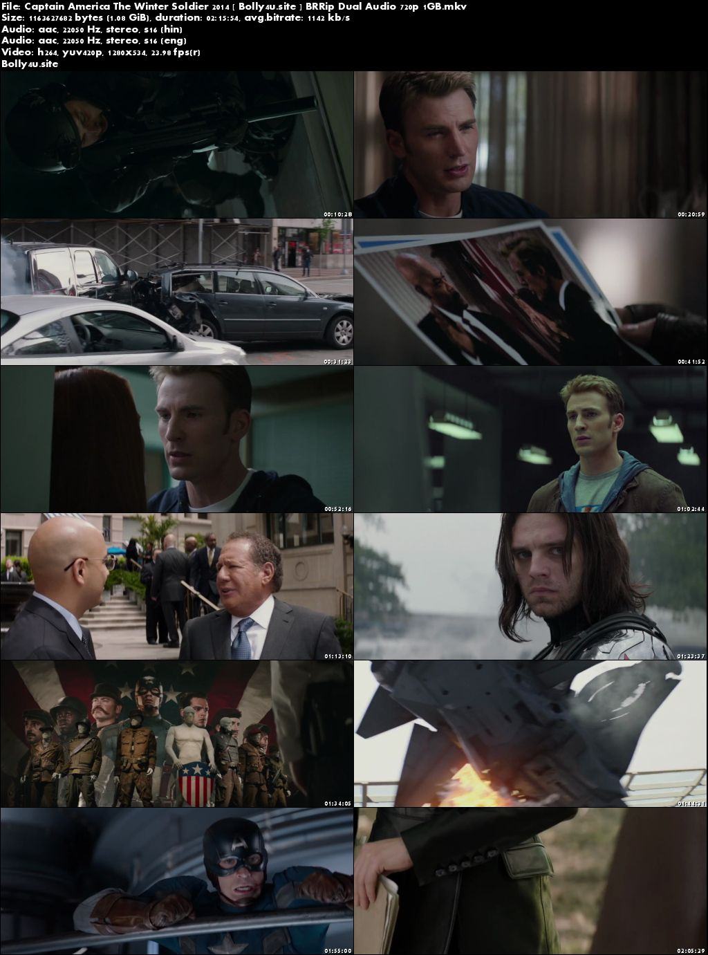 Captain America The Winter Soldier 2014 BRRip 400MB Hindi Dual Audio 480p Download
