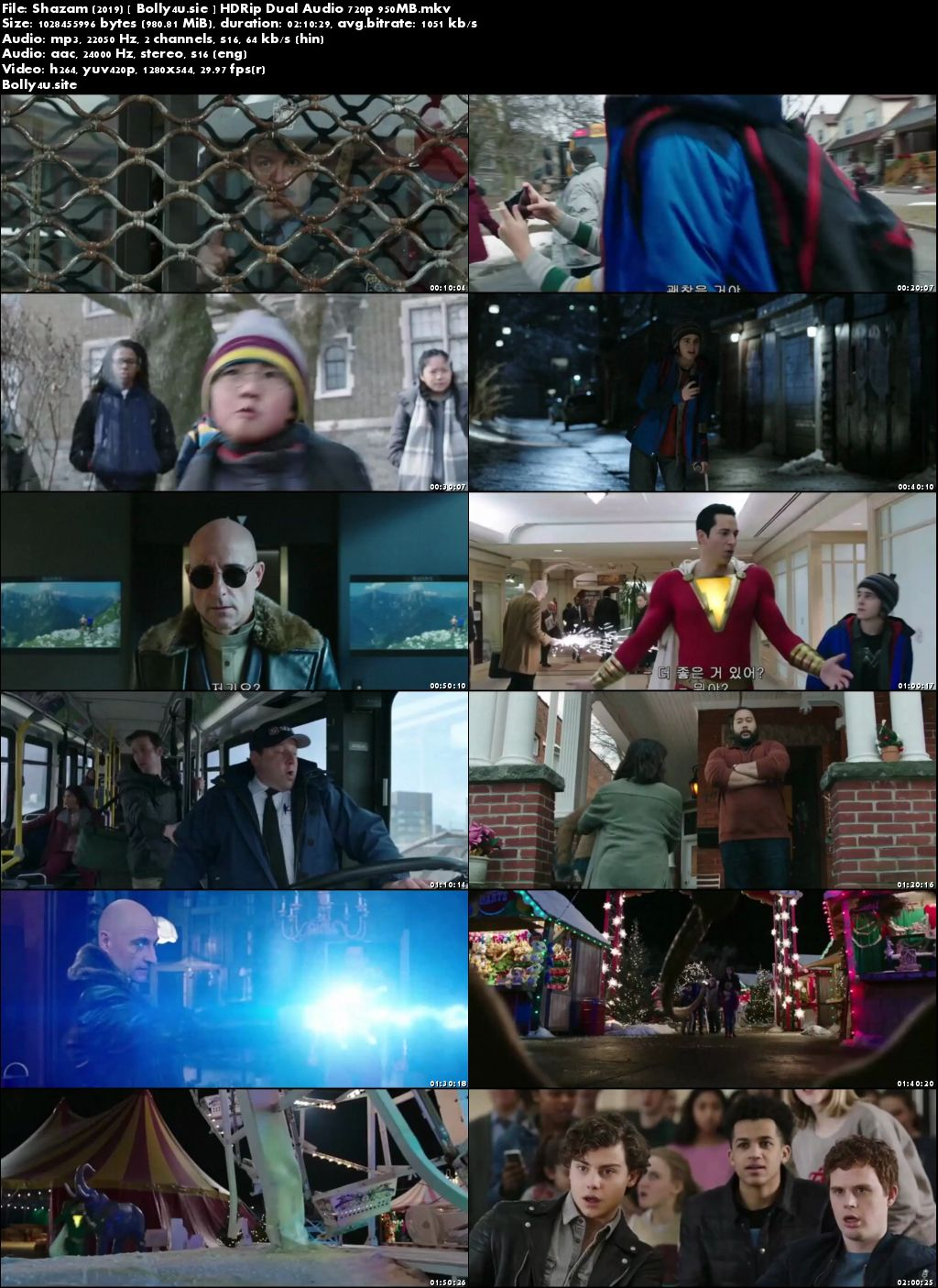Shazam 2019 HC HDRip 400MB Hindi Dual Audio 480p Download