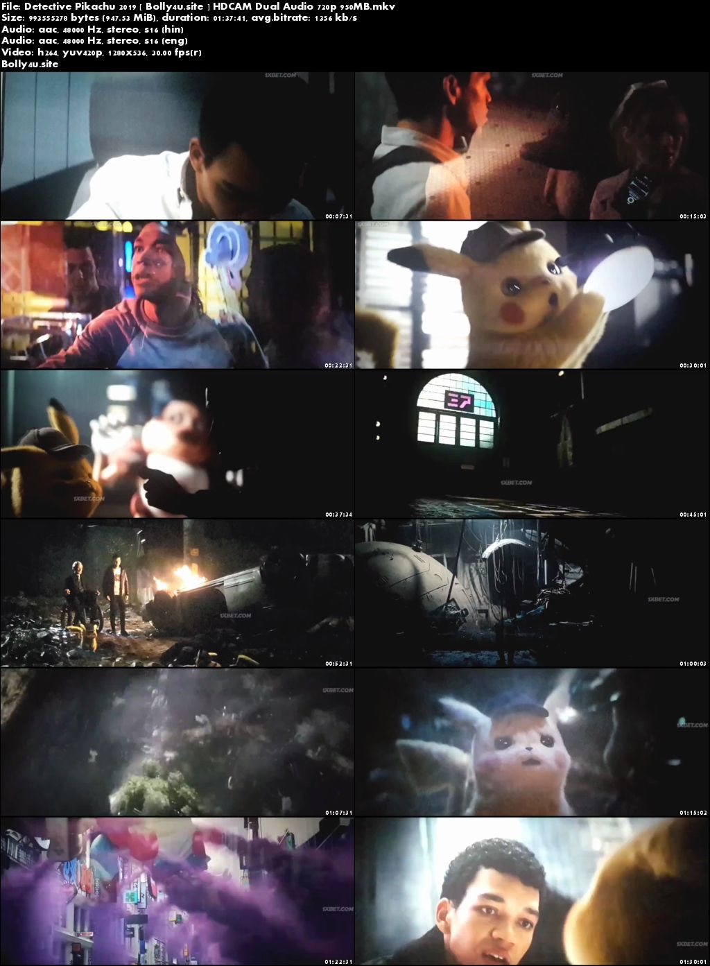 Pokémon Detective Pikachu 2019 HDCAM 300MB Hindi Dual Audio 480p Download