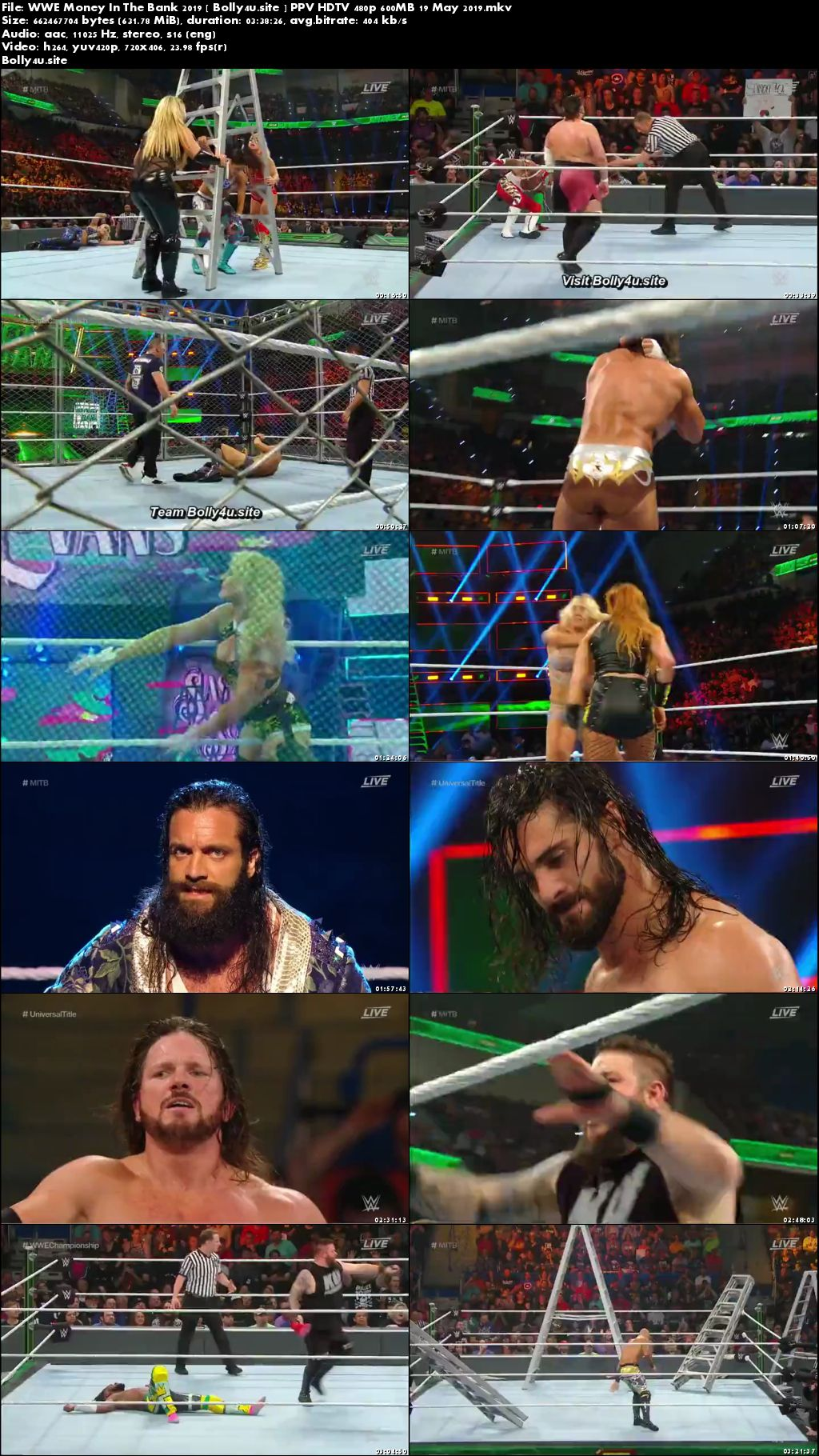 WWE Money In The Bank 2019 PPV HDTV 480p 600MB 19 May 2019 Download