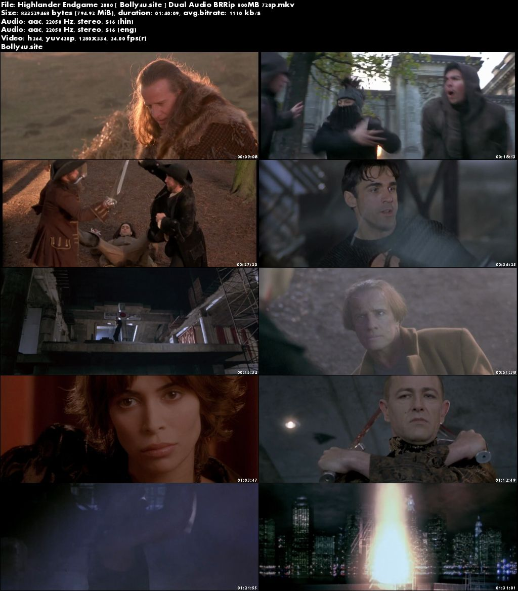 Highlander Endgame 2000 BRRip 300Mb Hindi Dual Audio 480p Download