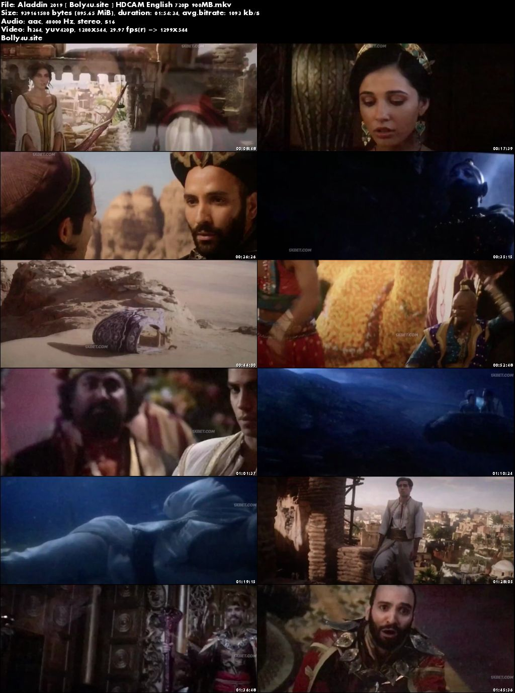 Aladdin 2019 HDCAM 350MB English 480p Download