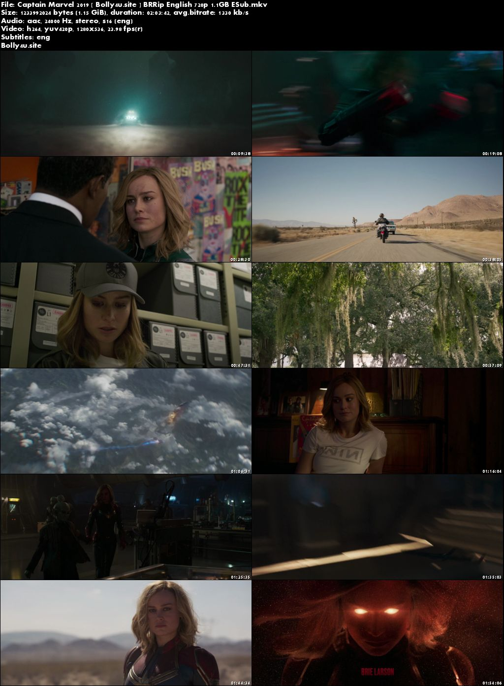Captain Marvel 2019 BRRip 1.1GB English 720p ESub Download