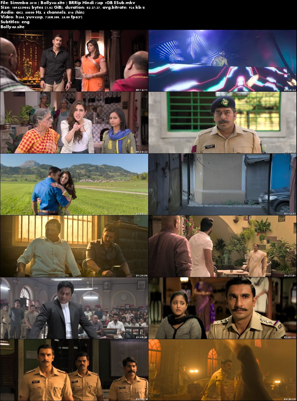 Simmba 2018 BRRip 1GB Hindi 720p ESub Download
