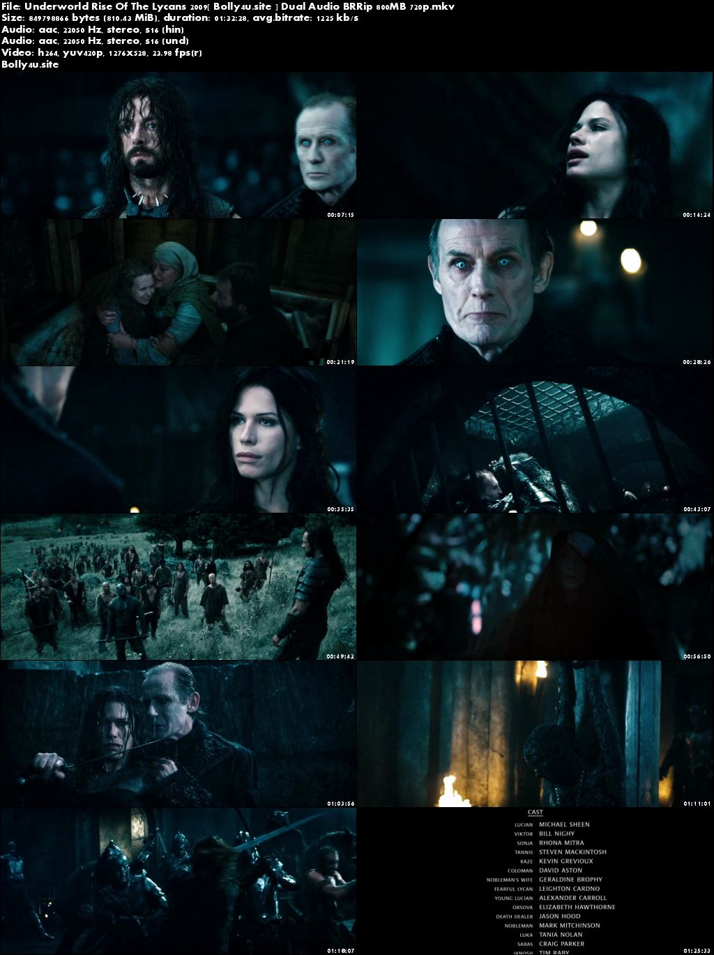 Underworld Rise Of The Lycans 2009 BRRip 800Mb Hindi Dual Audio 720p Download