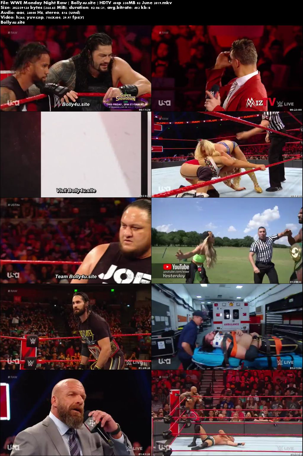 WWE Monday Night Raw HDTV 480p 350MB 03 June 2019 Download