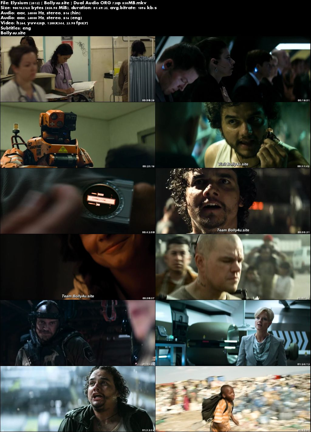 Elysium 2013 BRRip 300Mb Hindi Dual Audio ORG 480p ESub download