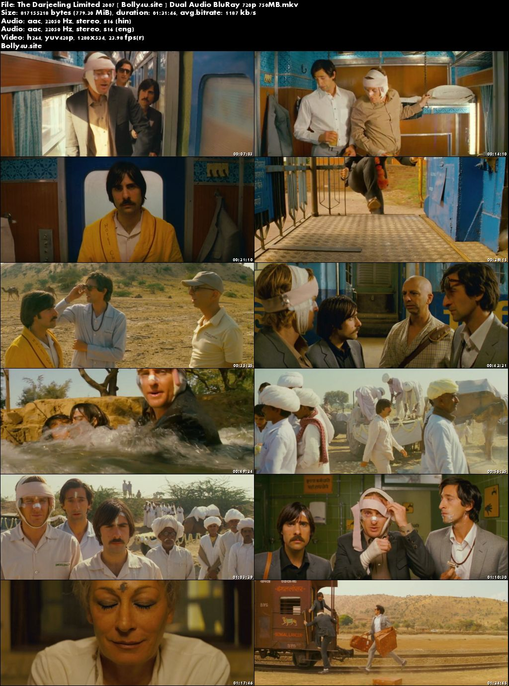 The Darjeeling Limited 2007 BluRay 750MB Hindi Dual Audio 720p Download