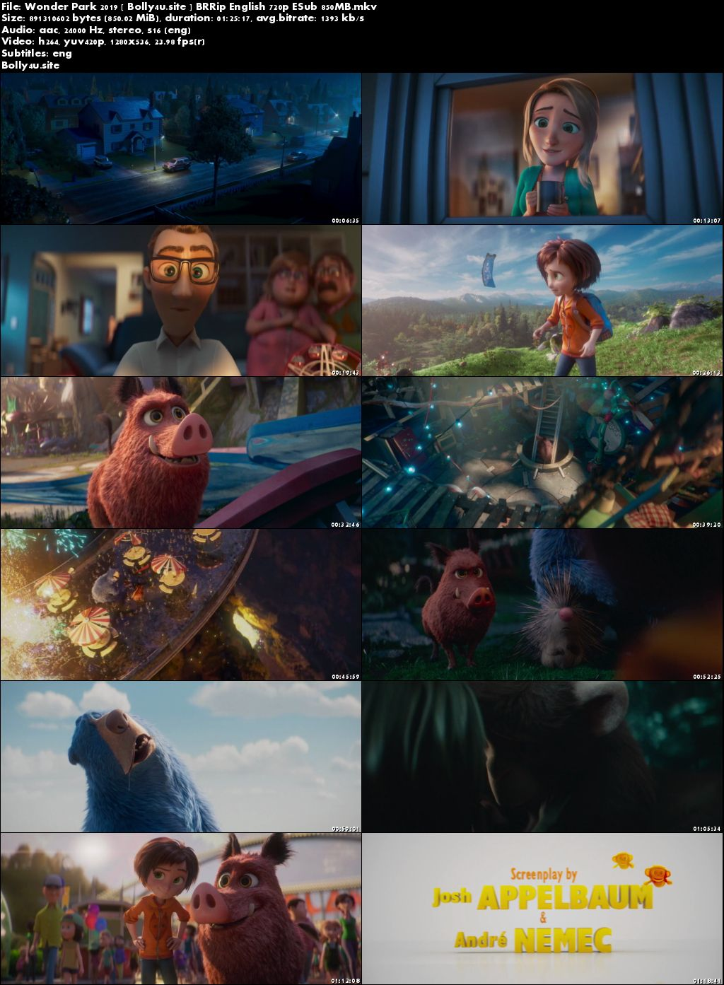 Wonder Park 2019 BRRip 850MB English 720p ESub Download