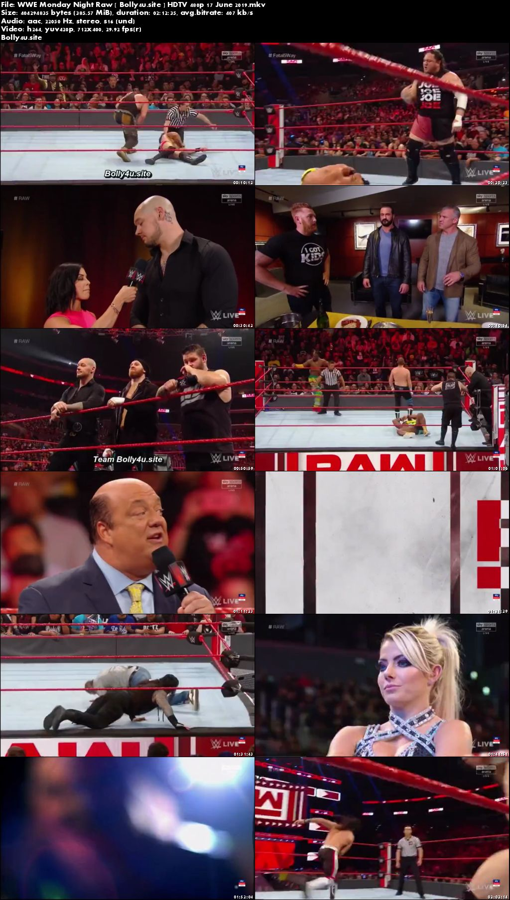 WWE Monday Night Raw HDTV 350MB 480p 17 June 2019 Download