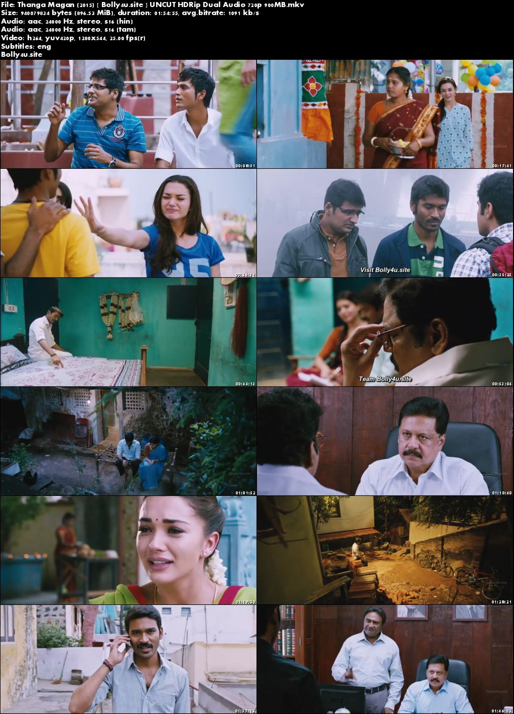 Thanga Magan 2015 HDRip 450MB UNCUT Hindi Dual Audio 480p Download