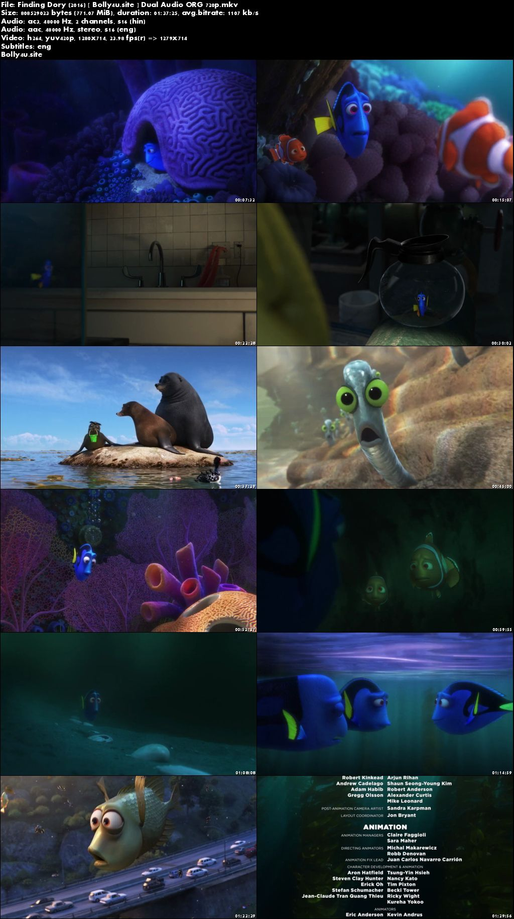 Finding Dory 2016 BRRip 300Mb Hindi Dual Audio ORG 480p Download