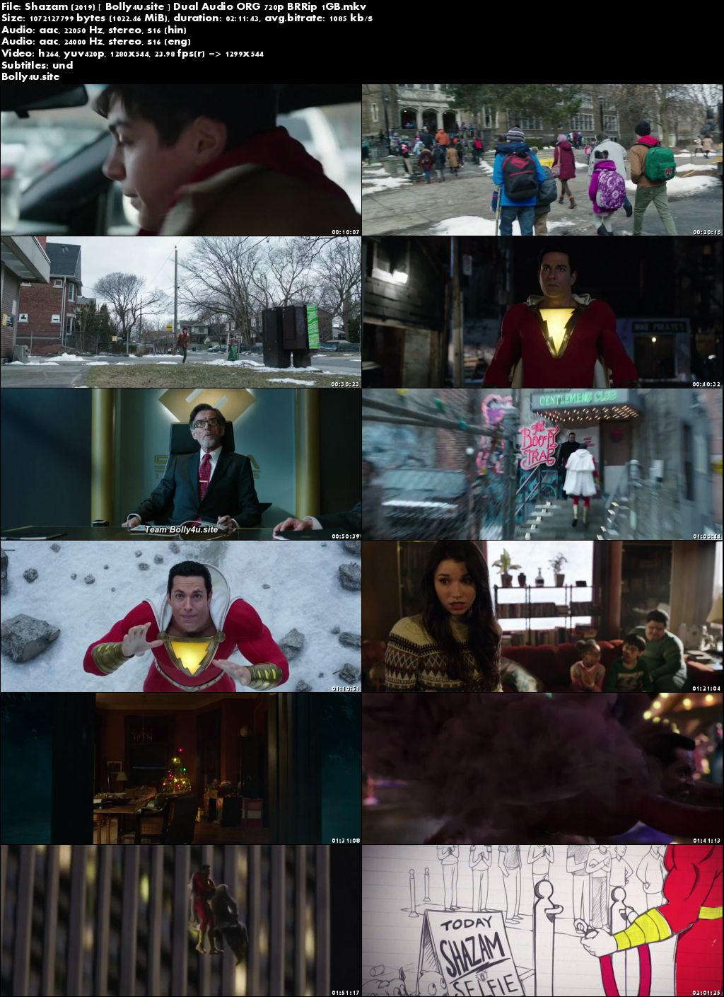 Shazam 2019 BRRip 400MB Hindi Dual Audio ORG 480p ESub Download