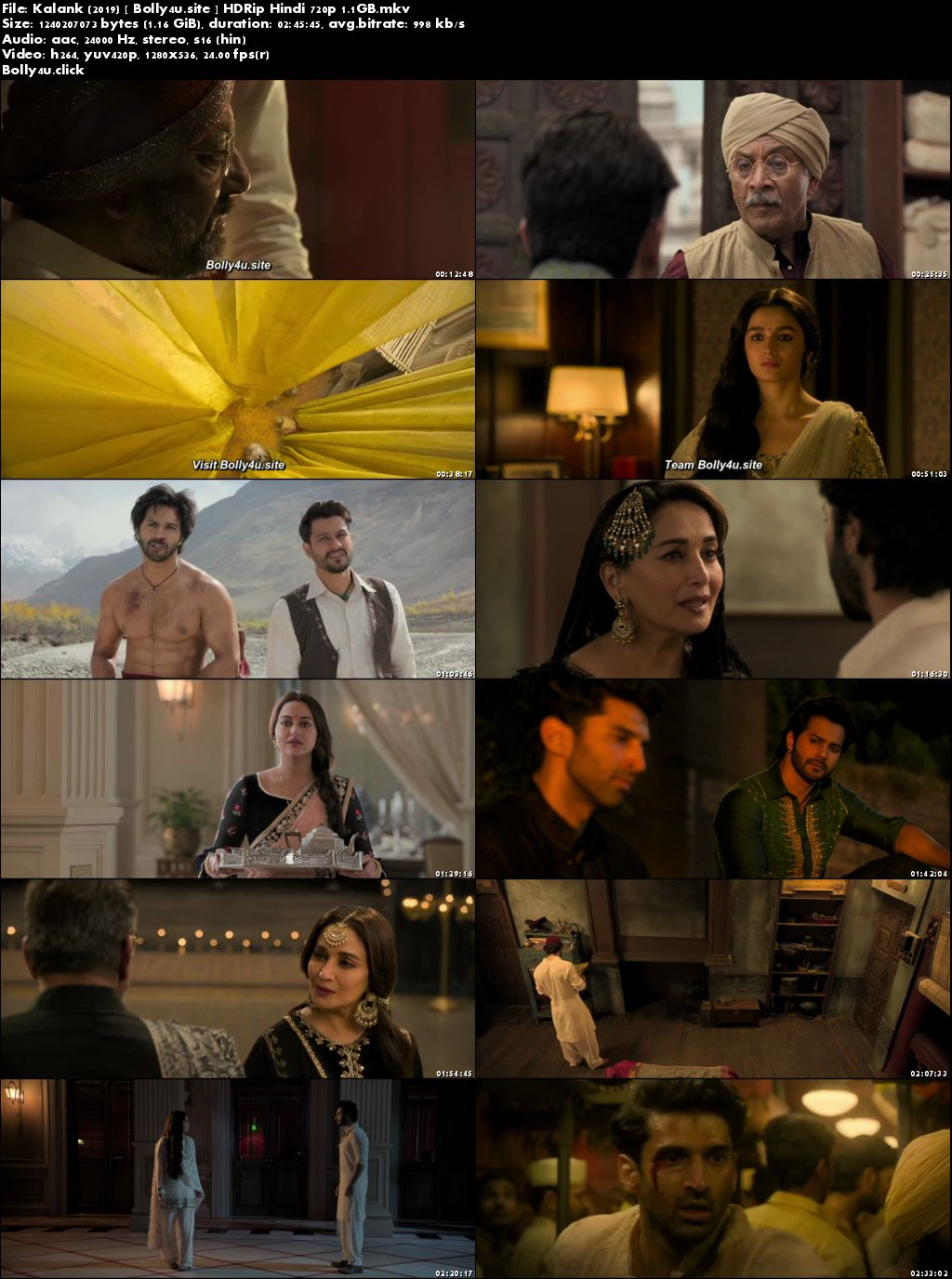 Kalank 2019 HDRip 450Mb Full Hindi Movie Download 480p