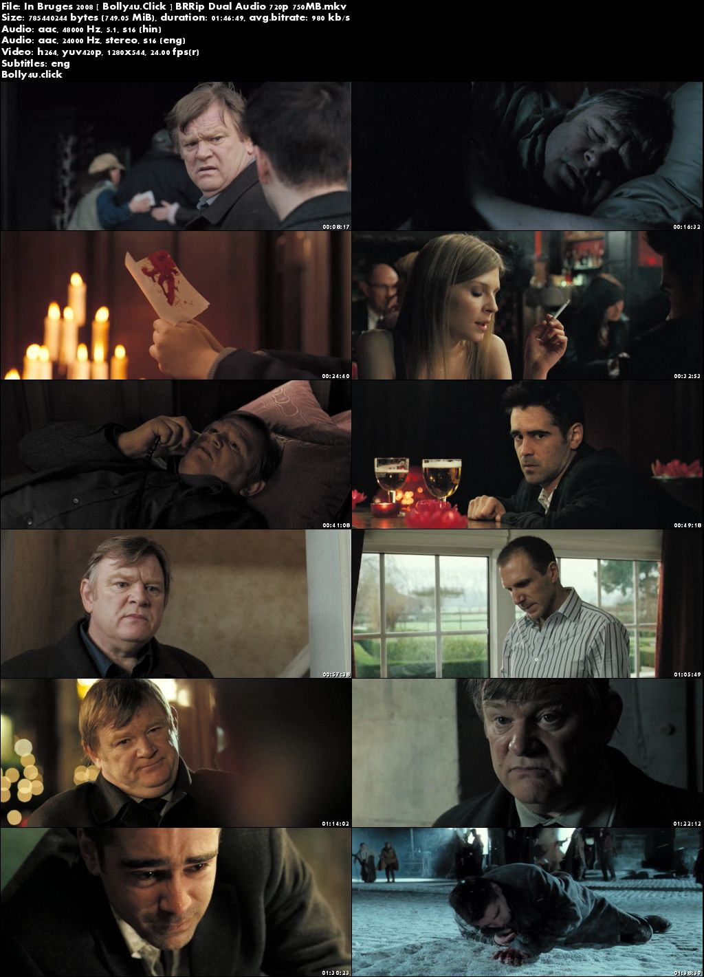 In Bruges 2008 BRRip 300Mb Hindi Dual Audio 480p Download