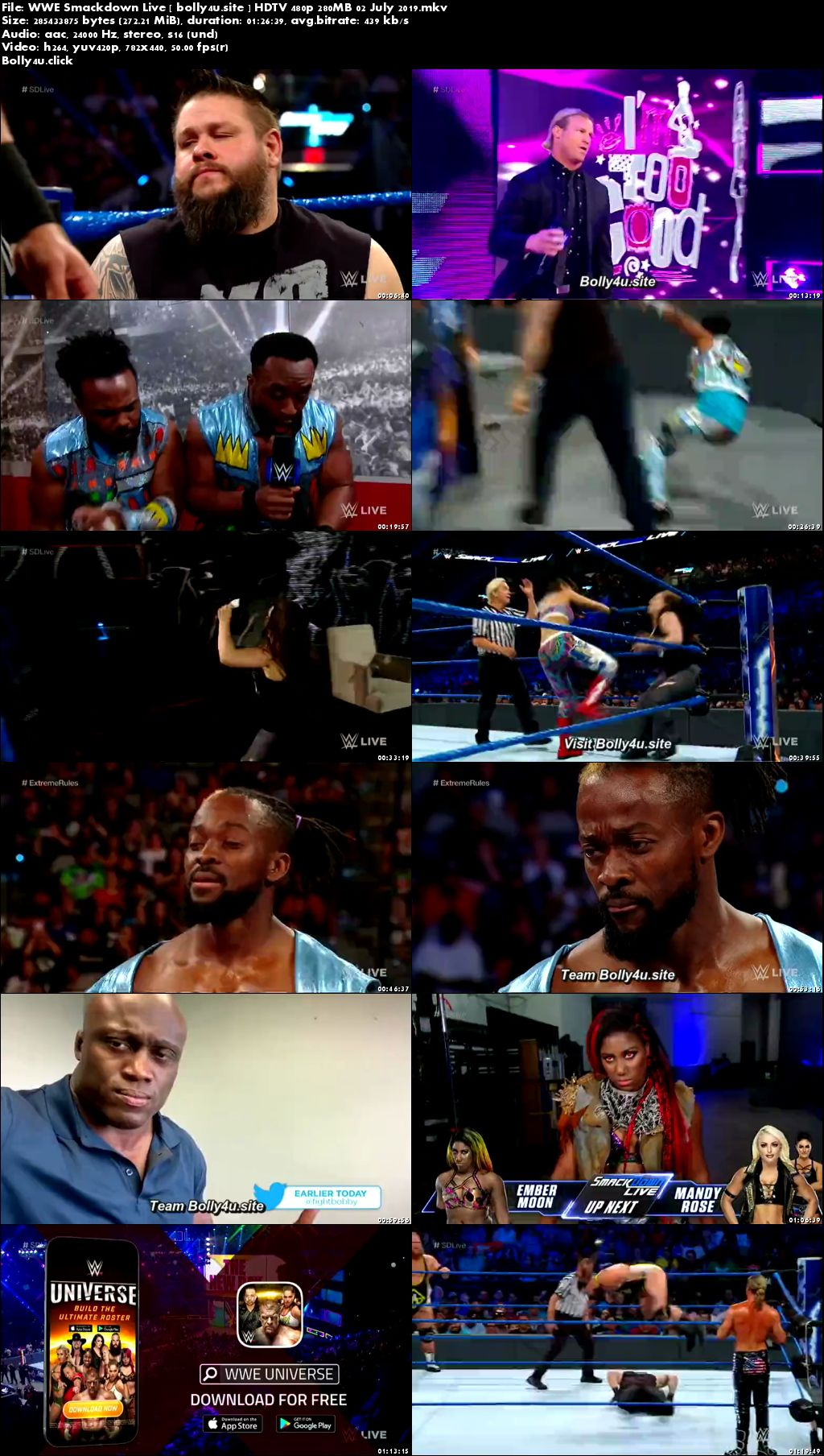 WWE Smackdown Live HDTV 480p 280MB 02 July 2019 Download