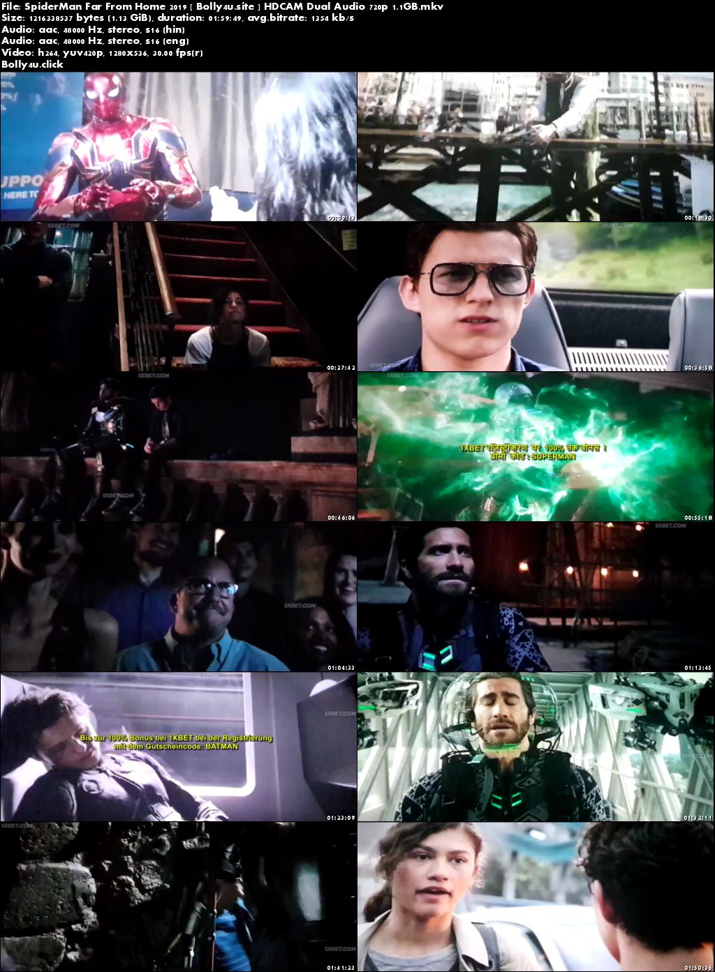 Spider-Man Far From Home 2019 HDCAM 400MB Hindi Dual Audio 480p Download