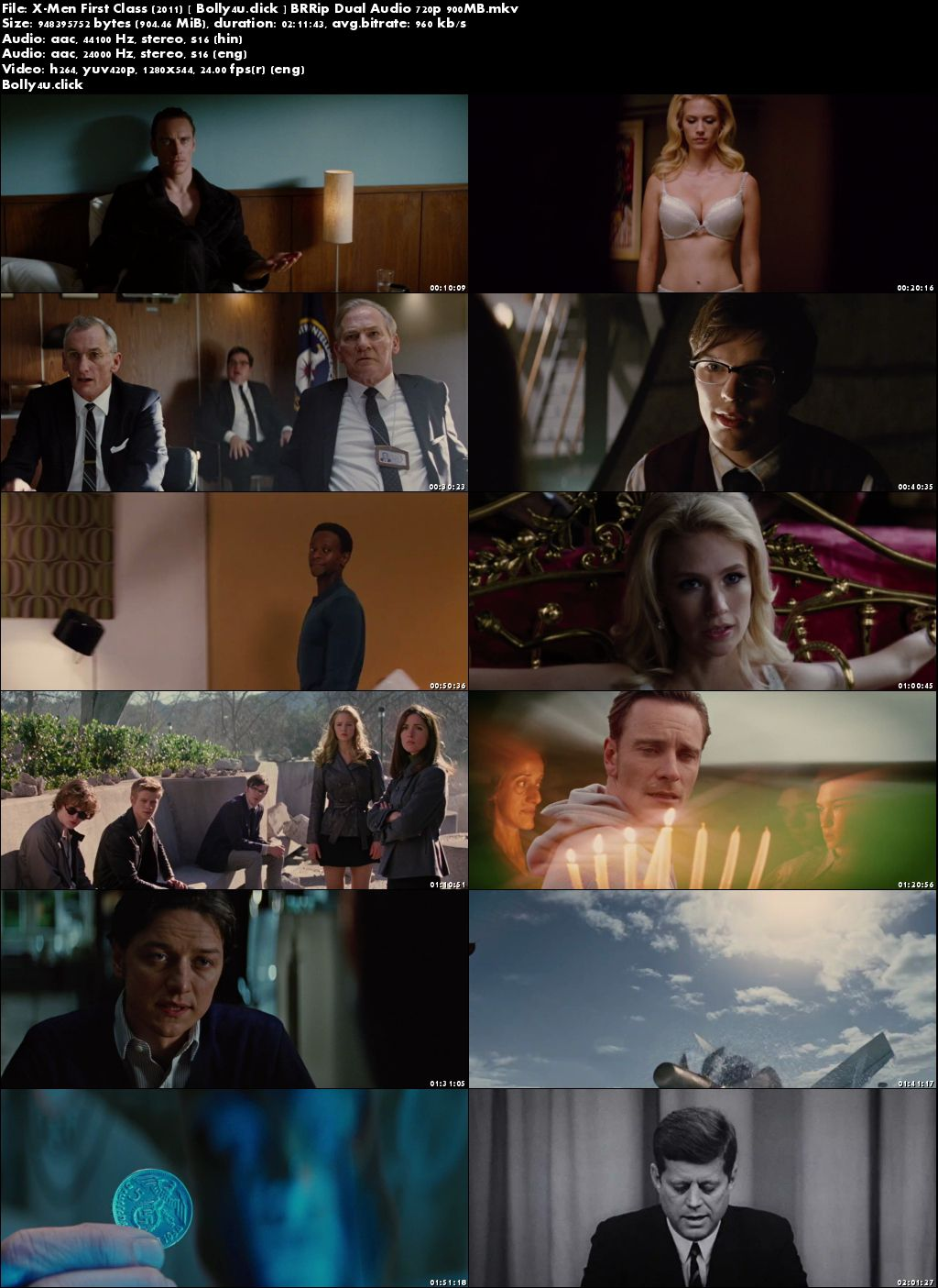 X-Men First Class 2011 BRRip 900MB Hindi Dual Audio 720p Download
