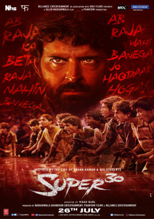 Super 30 (2019) Pre DVDRip 400Mb Full Hindi Movie Download 480p Watch Online Free Bolly4u