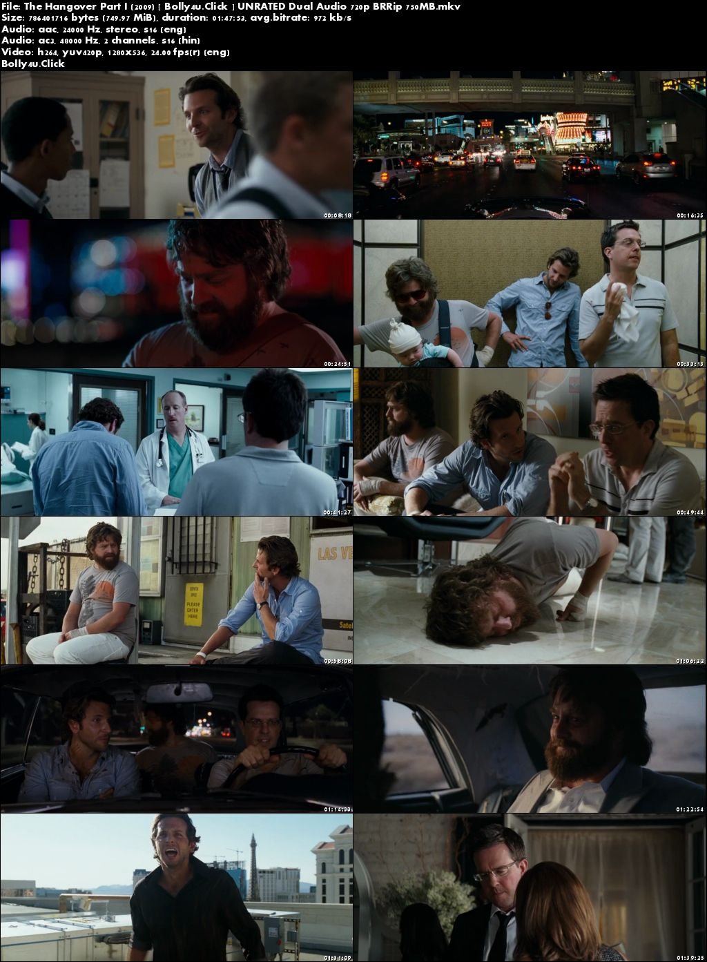 The Hangover Part I 2009 BRRip 750MB UNRATED Hindi Dual Audio 720p Download
