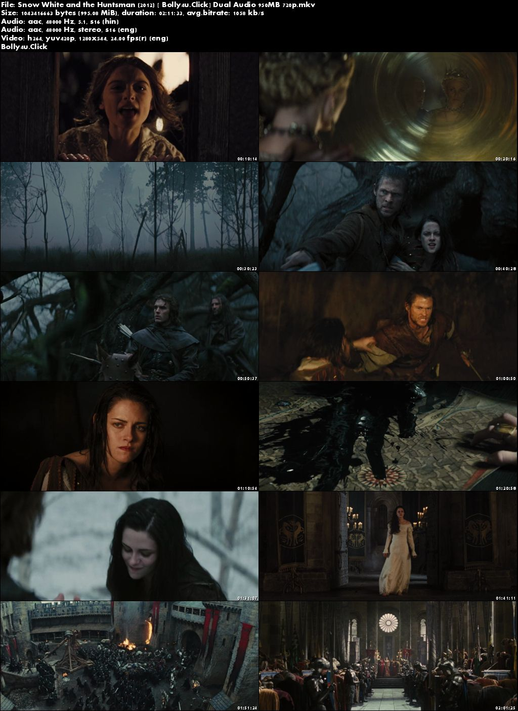 Snow White and the Huntsman 2012 BluRay 400Mb Hindi Dual Audio 480p Download