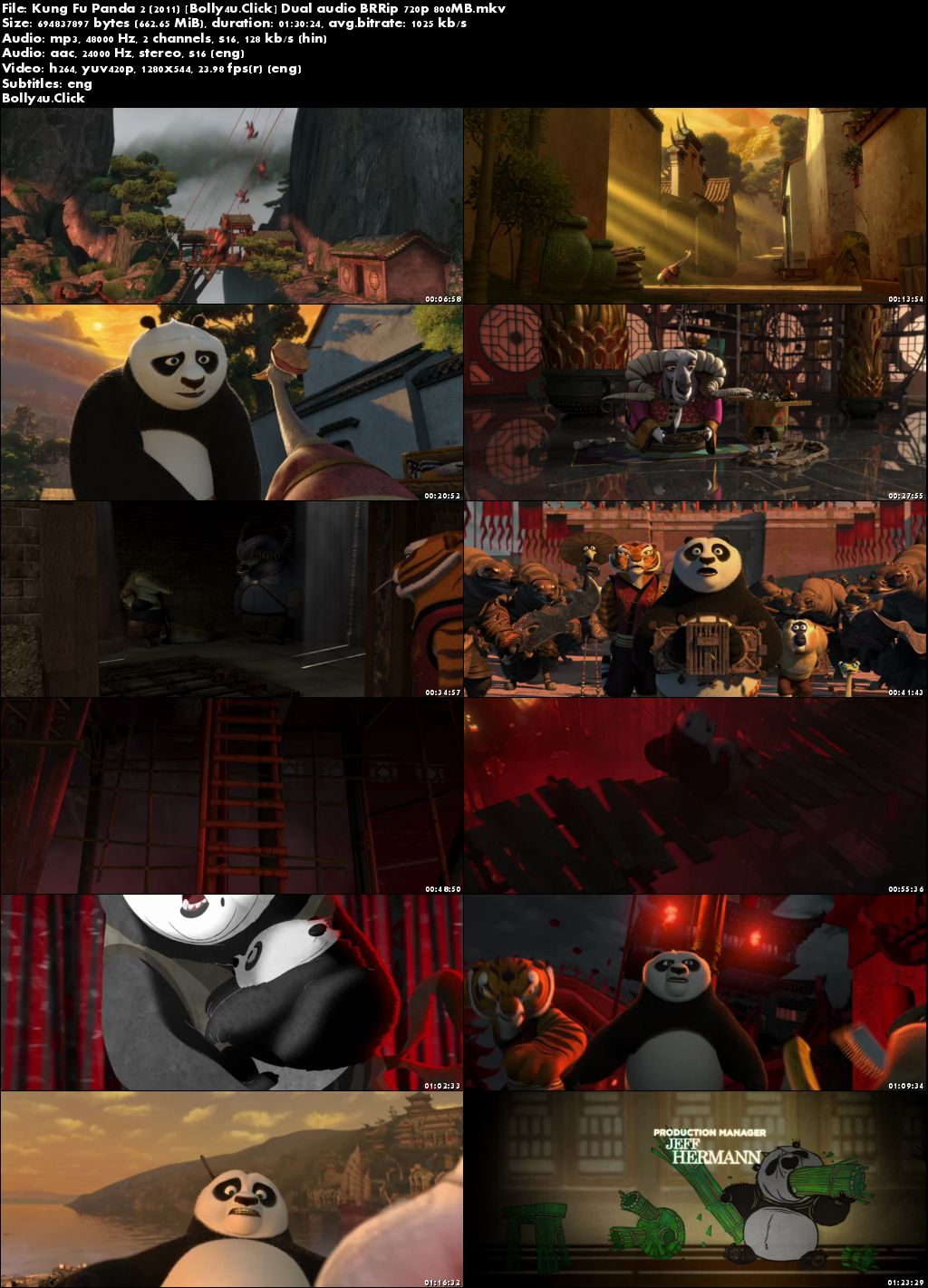 Kung Fu Panda 2 2011 BRRip 650Mb Hindi Dual Audio 720p Download