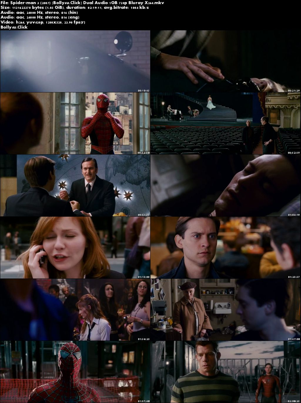 Spider-Man 3 2007 BRRip 1GB Hindi Dual Audio 720p Download