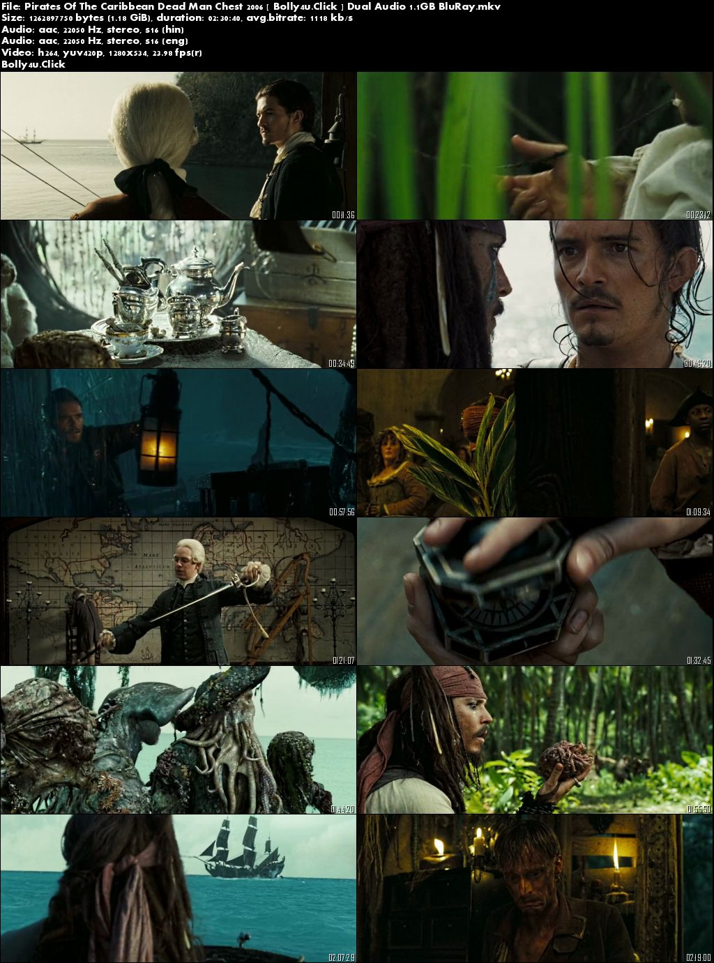Pirates Of The Caribbean Dead Man Chest 2006 BluRay 500MB Hindi Dual Audio 480p Download
