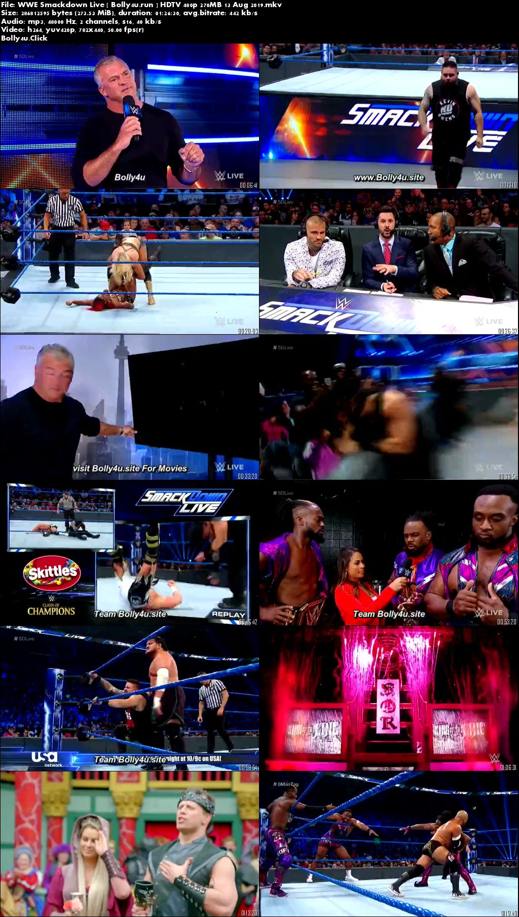 WWE Smackdown Live HDTV 480p 270MB 13 Aug 2019 Download