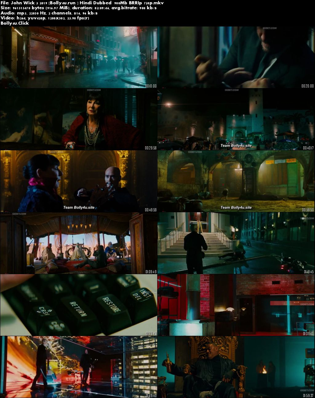 John Wick 3 2019 BRRip 900Mb Hindi Dubbed 720p Download