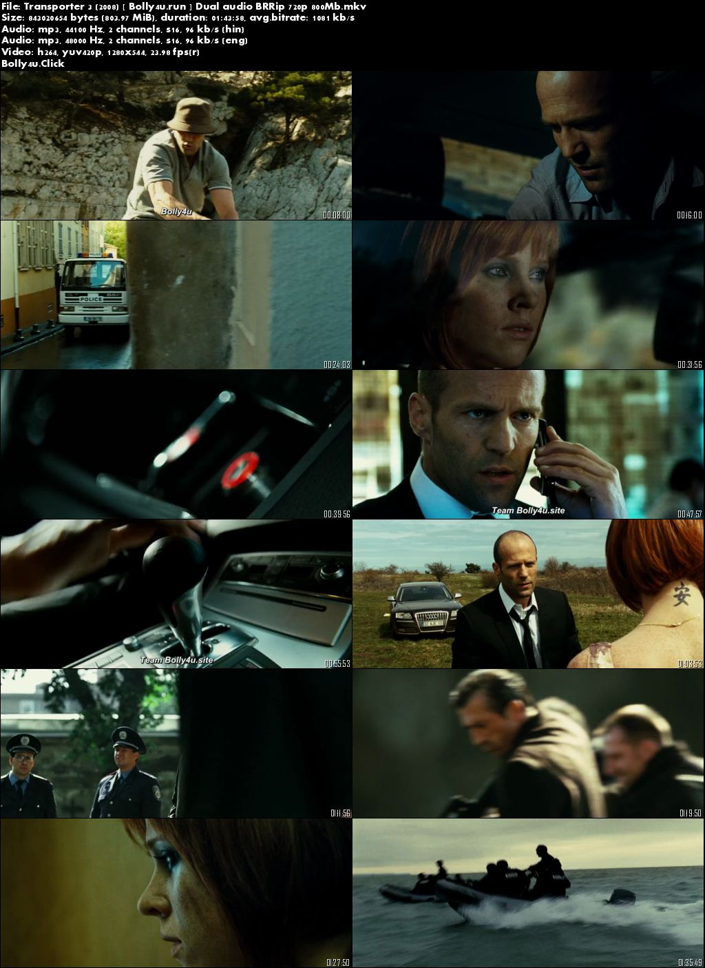 Transporter 3 2008 BRRip 300Mb Hindi Dual Audio 480p Download