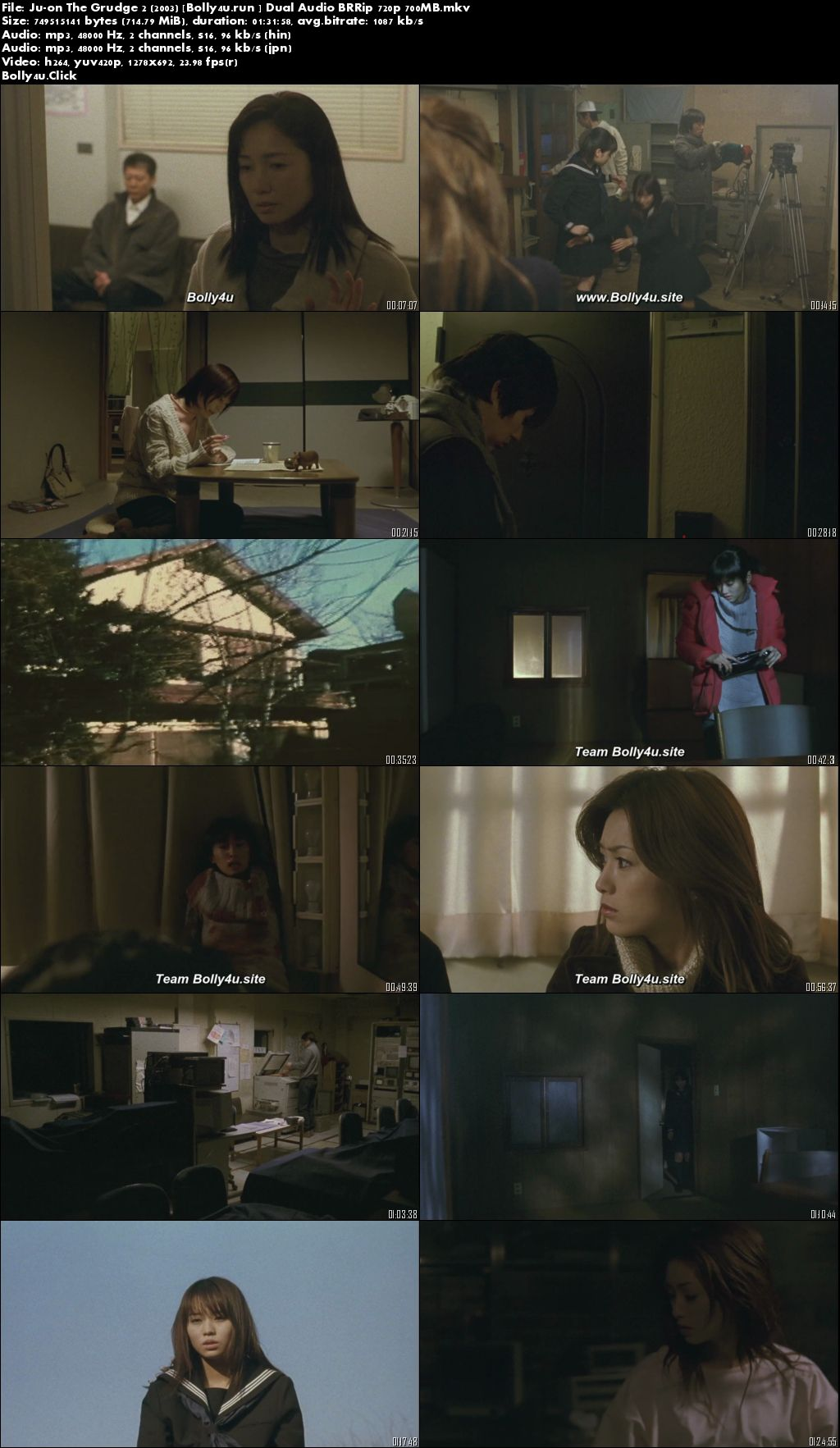 Ju-on The Grudge 2 2003 BRRip 700MB Hindi Dual Audio 720p Download