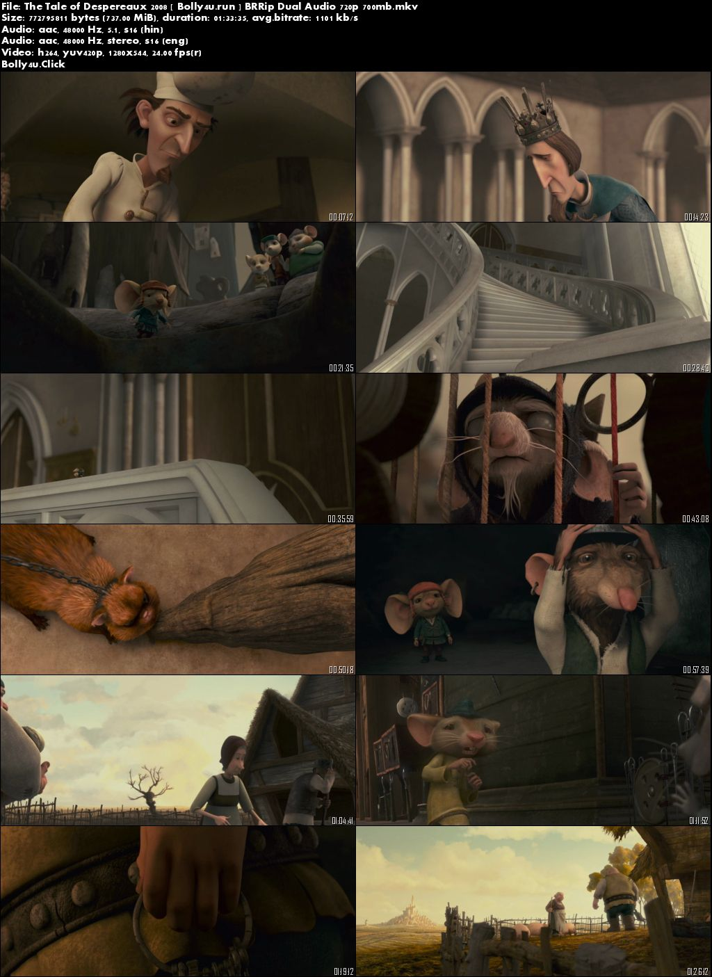 The Tale of Despereaux 2008 BRRip 700Mb Hindi Dual Audio 720p