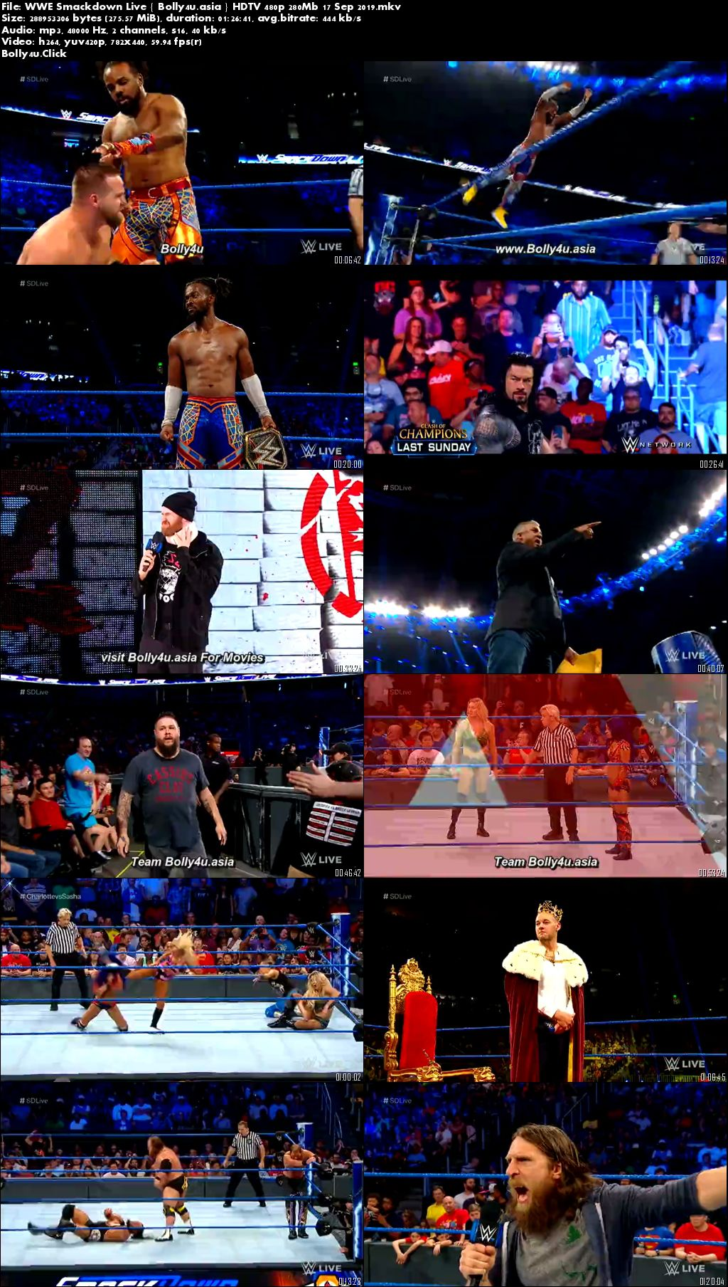 WWE Smackdown Live HDTV 480p 280Mb 17 Sep 2019 Download