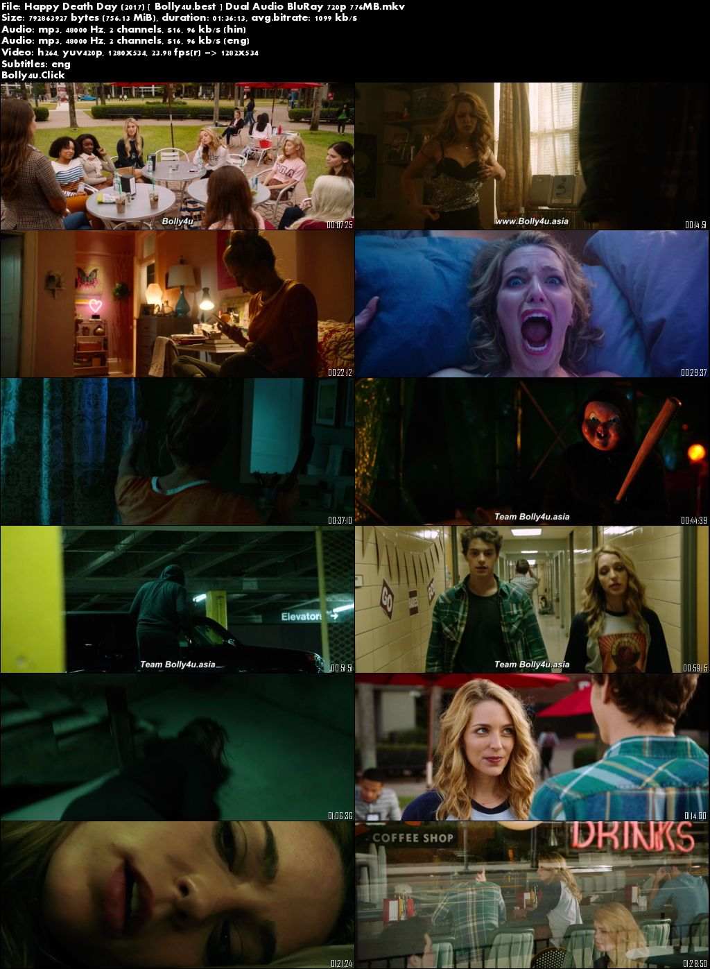 Happy Death Day 2017 BluRay 750Mb Hindi Dual Audio ORG 720p Download