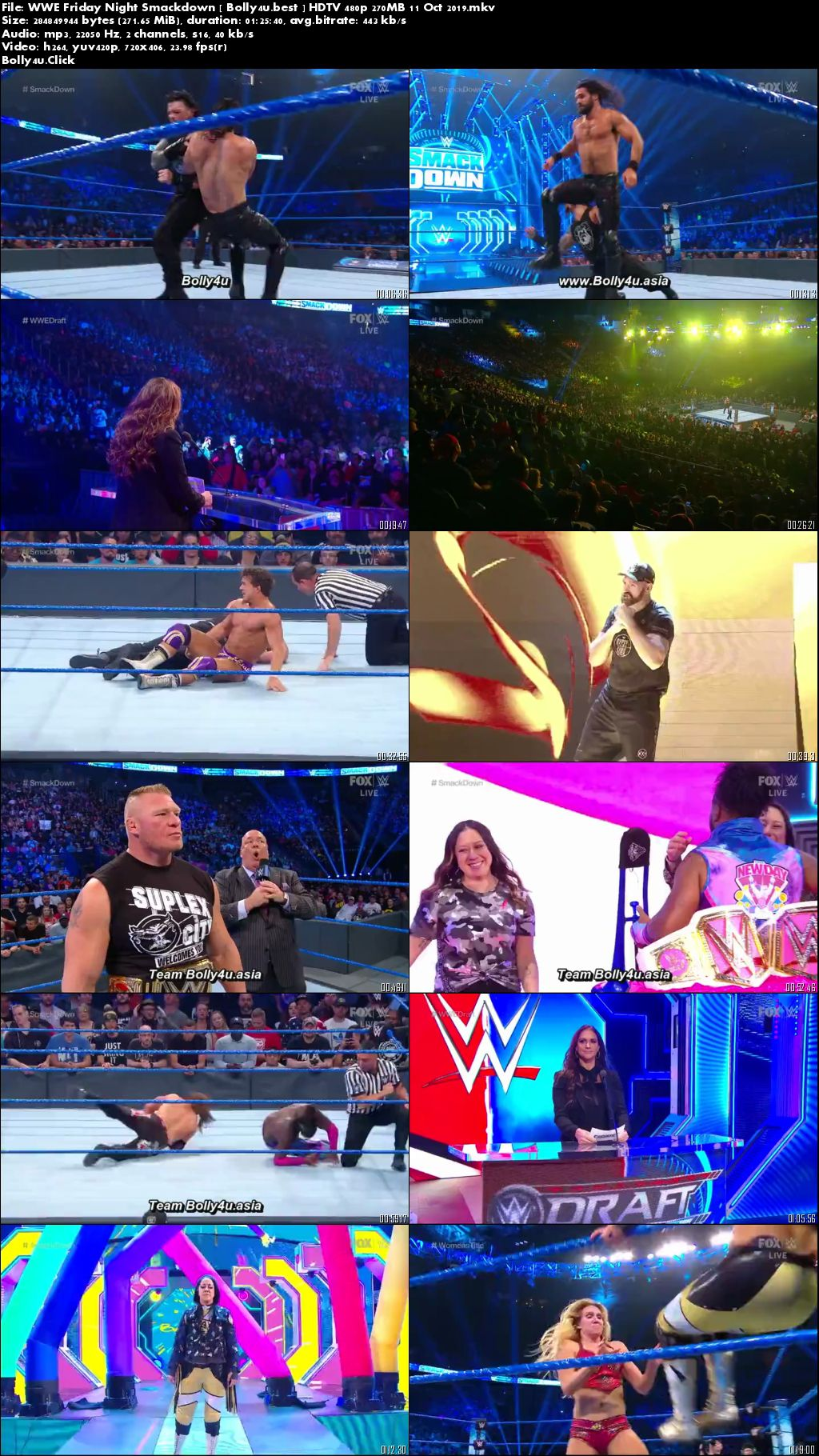 WWE Friday Night Smackdown HDTV 480p 270MB 11 Oct 2019 Download