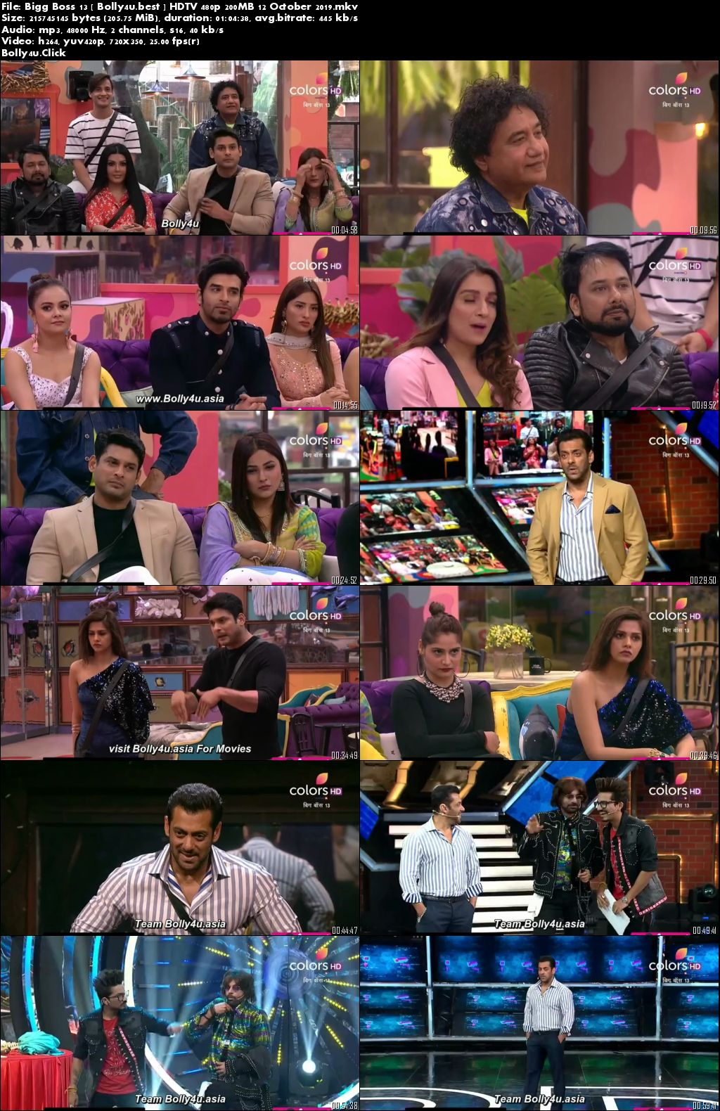 Bigg Boss S13 HDTV 480p 200MB 12 October 2019 Download