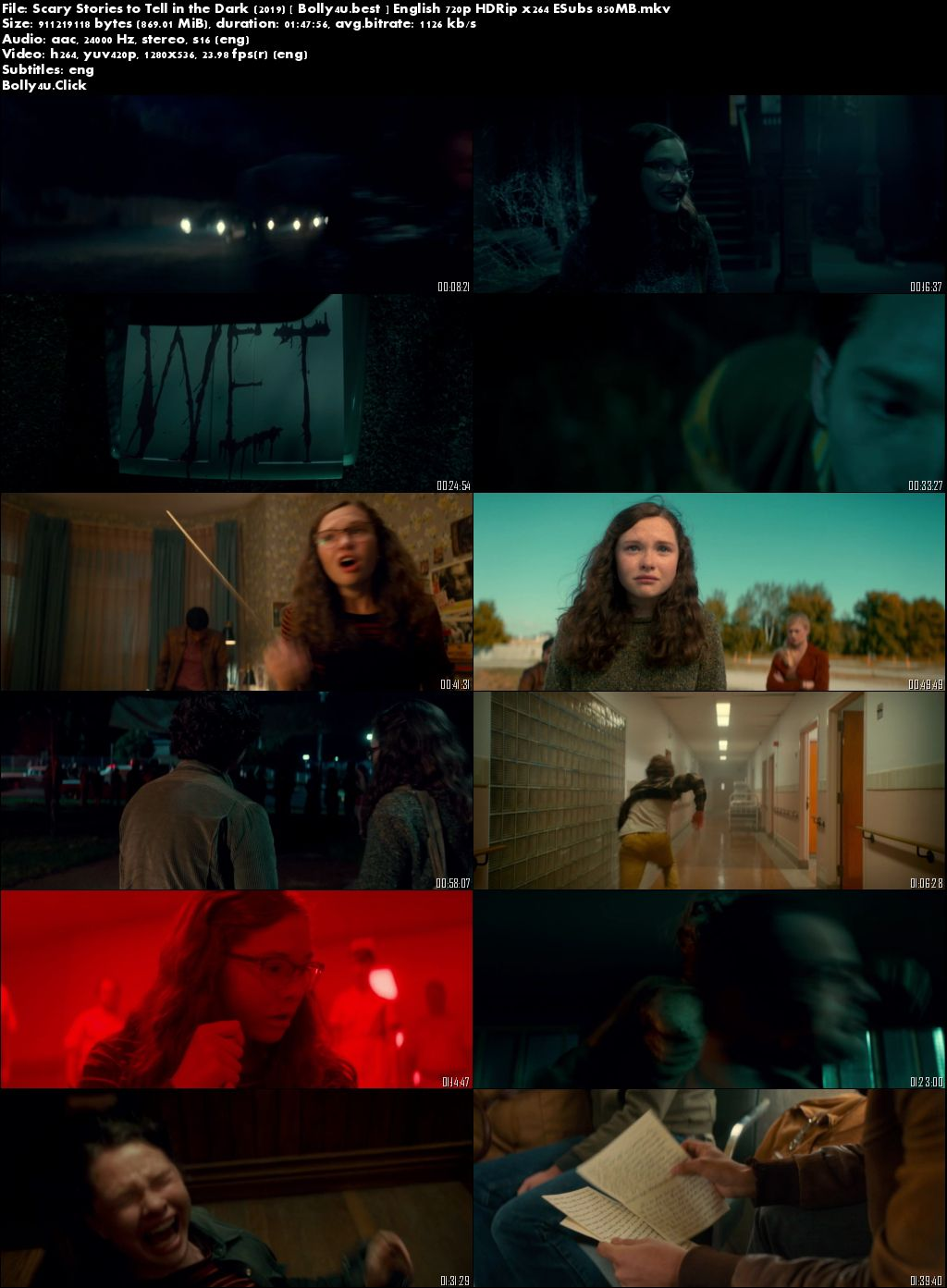 Scary Stories to Tell in the Dark 2019 HDRip 300MB English 480p ESubs Download