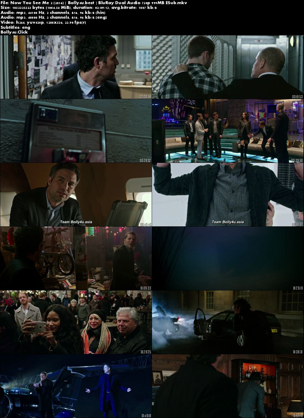 Now You See Me 2 2016 BluRay 999MB Hindi Dual Audio 720p ESub Download