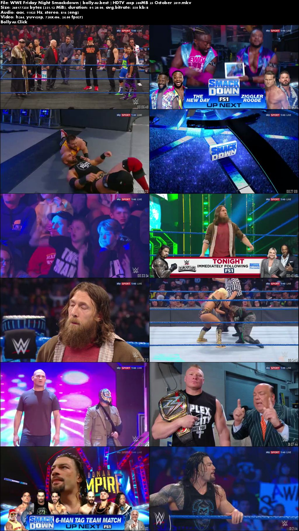 WWE Friday Night Smackdown HDTV 480p 300MB 25 October 2019 Download