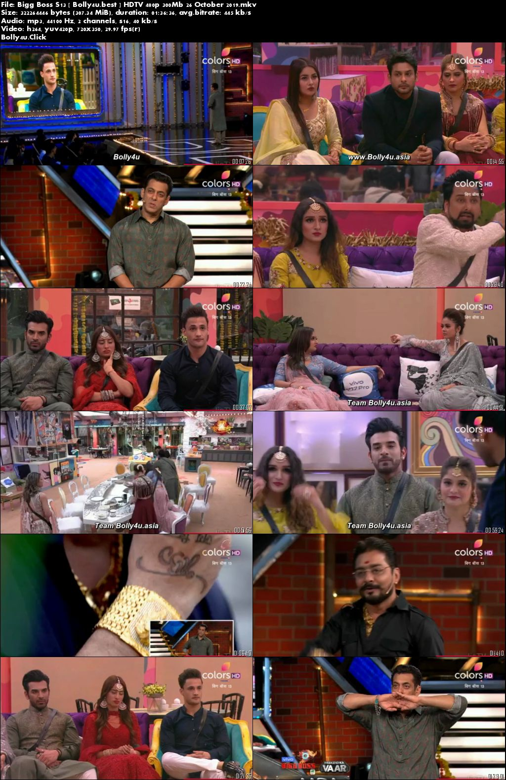 Bigg Boss S13 HDTV 480p 300Mb 26 October 2019 Download