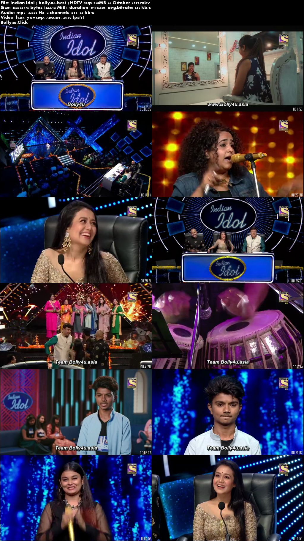 Indian Idol HDTV 480p 250MB 26 October 2019 Download