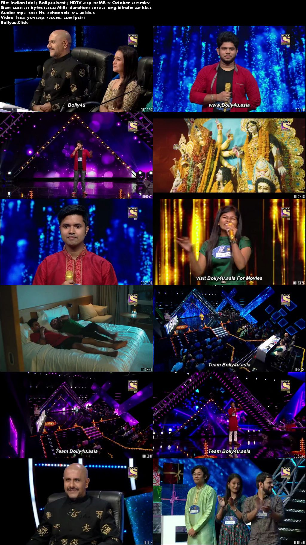 Indian Idol HDTV 480p 200MB 27 October 2019 Download