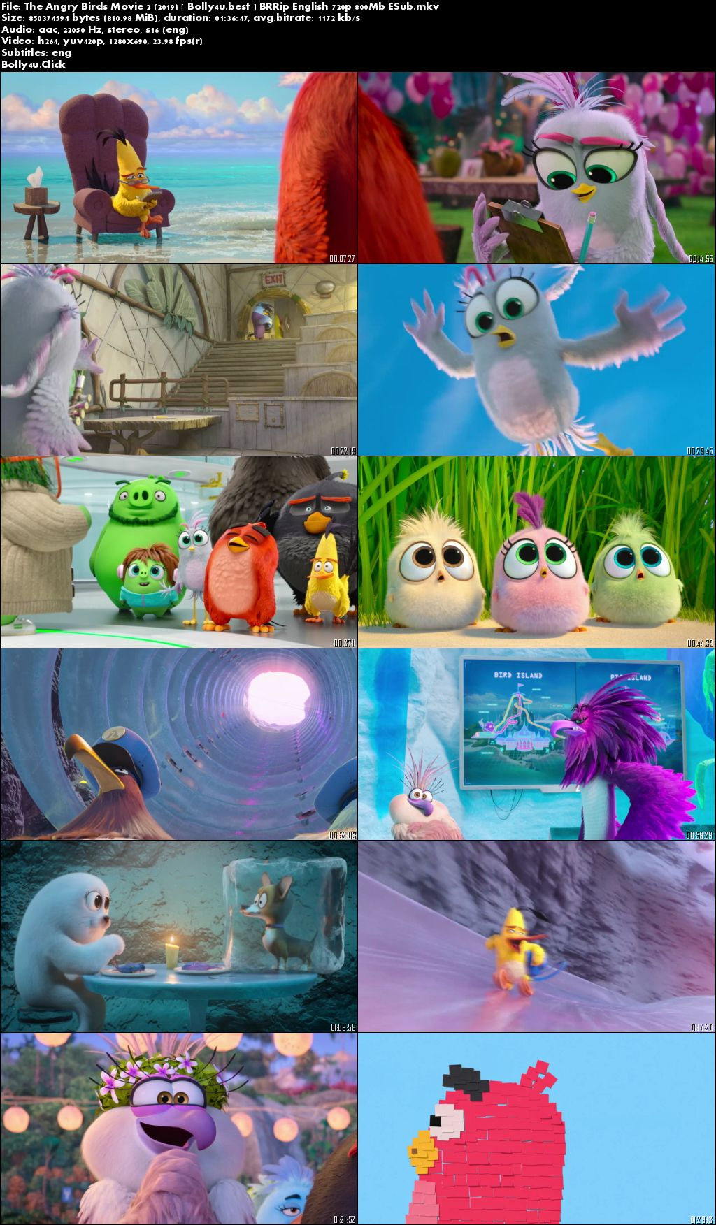 The Angry Birds Movie 2 2019 BRRip 800Mb English 720p ESub Download