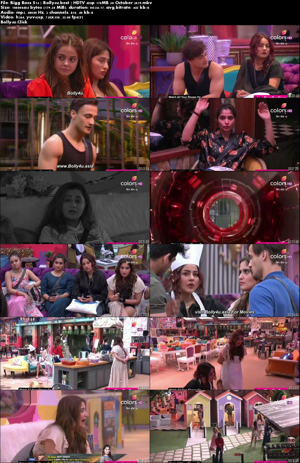 Bigg Boss S13 HDTV 480p 170MB 30 October 2019 Download