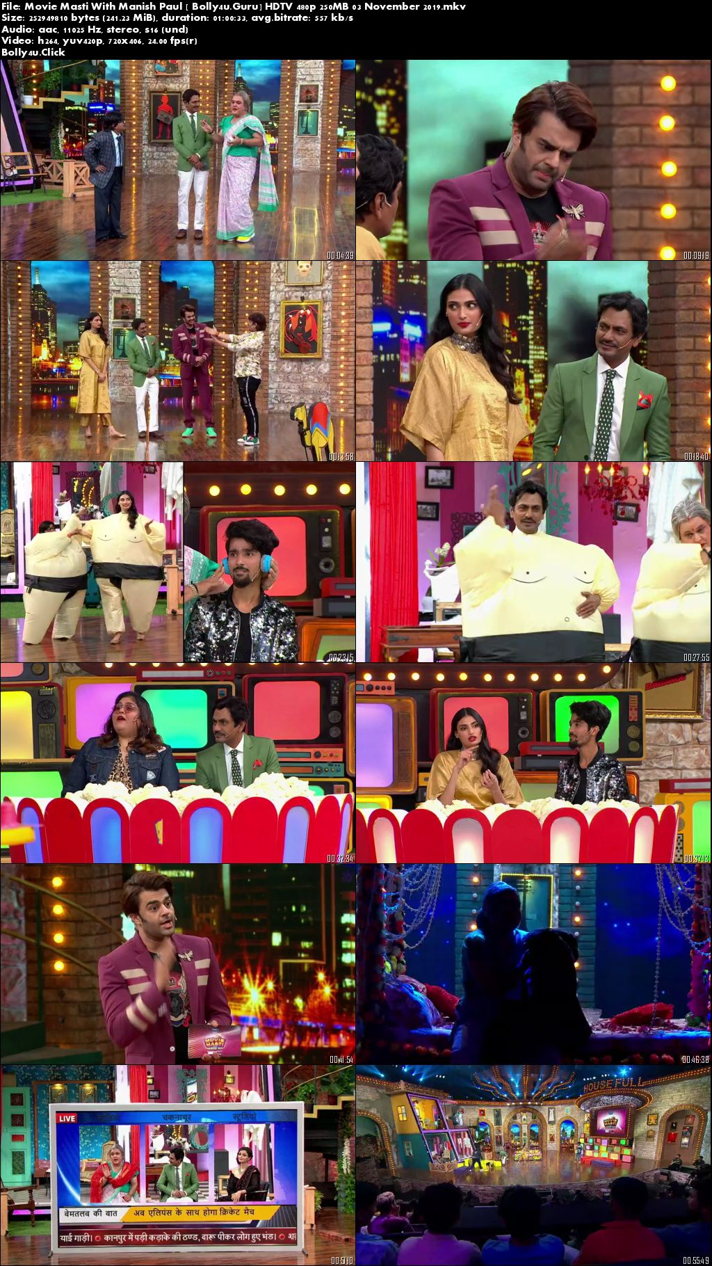 Movie Masti With Manish Paul HDTV 480p 250MB 03 November 2019 Download