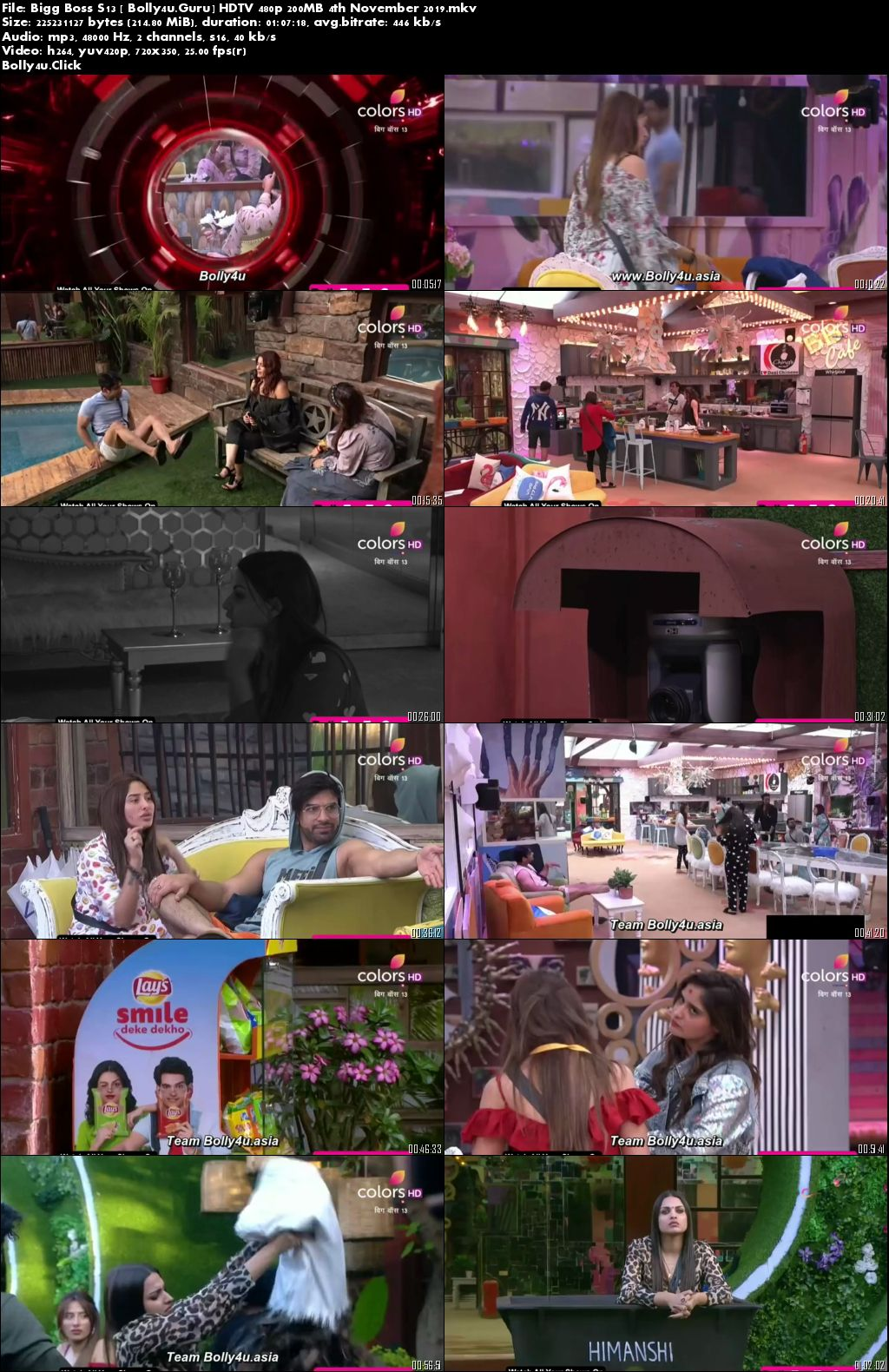 Bigg Boss S13 HDTV 480p 200MB 04 November 2019 Download