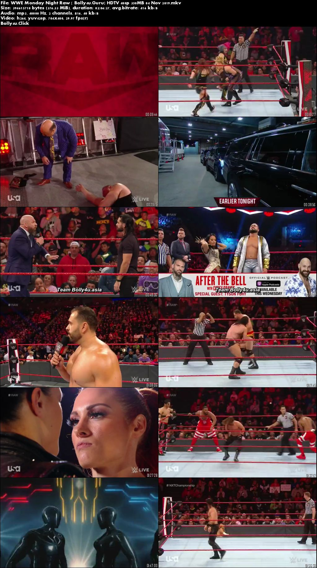 WWE Monday Night Raw HDTV 480p 350MB 04 Nov 2019 Download