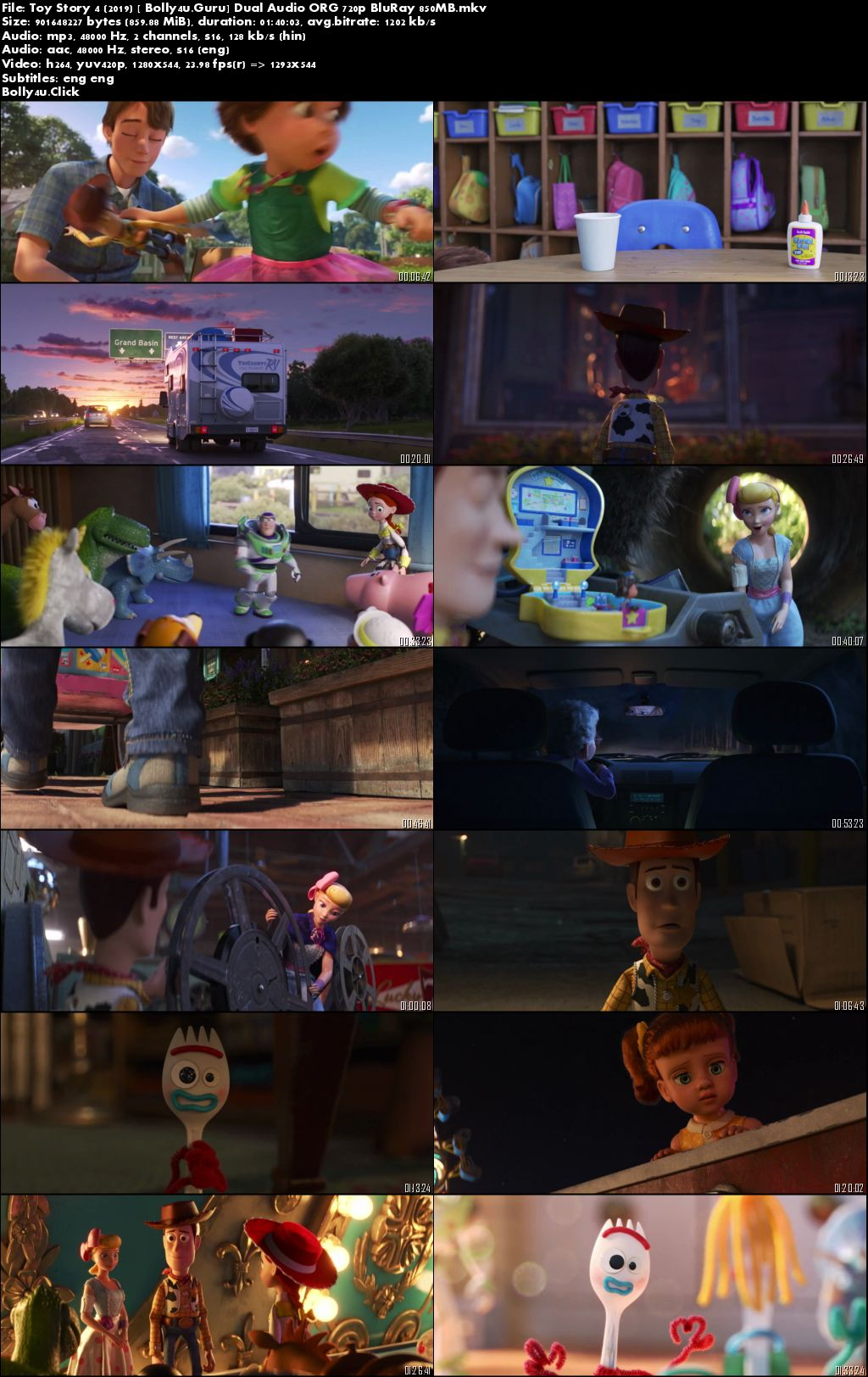 Toy Story 4 2019 BluRay 350MB Hindi Dual Audio ORG 480p Download