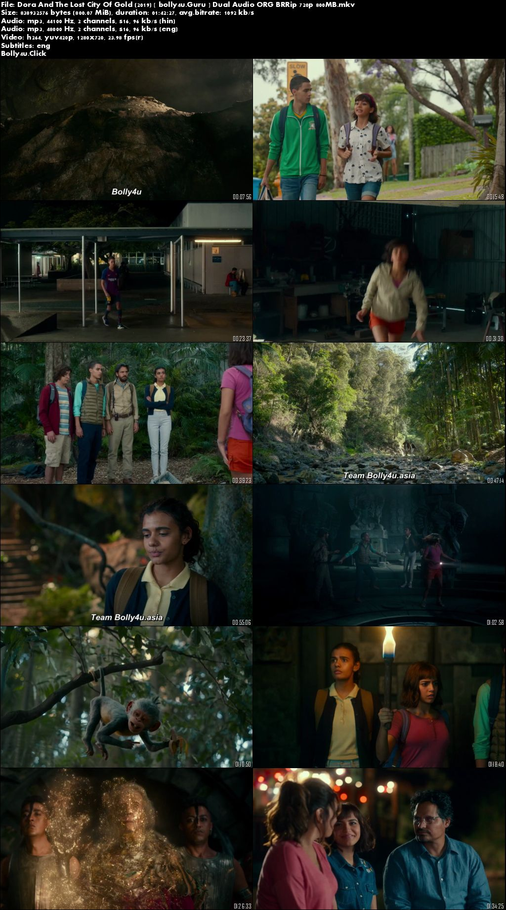 Dora And The Lost City Of Gold 2019 BRRip 800MB Hindi Dual Audio ORG 720p download
